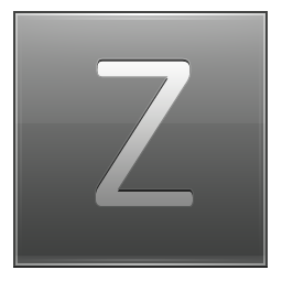 Letter Z grey icon