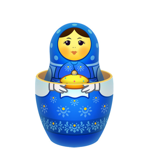 Blue matreshka inside icon icon