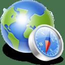 Globe compass icon