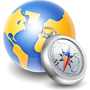globe compass silver icon