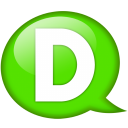 Speech balloon green d icon