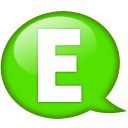 Speech-balloon-green-e icon