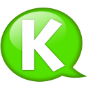 Speech balloon green k icon