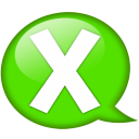 speech balloon green x icon