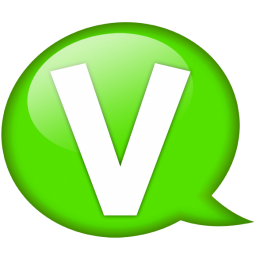 speech balloon green v icon