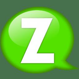 speech balloon green z icon
