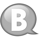 speech balloon white b icon