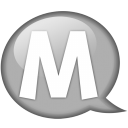 speech balloon white m icon