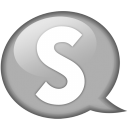 speech balloon white s icon