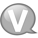 speech balloon white v icon