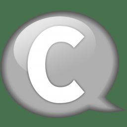 Speech balloon white c icon