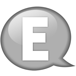 speech balloon white e icon