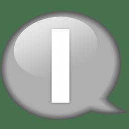 speech balloon white i icon