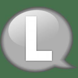 Speech balloon white l icon