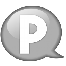 speech balloon white p icon