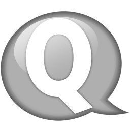 Speech balloon white q icon