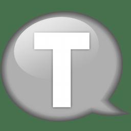 Speech balloon white t icon
