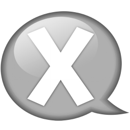 speech balloon white x icon