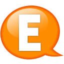 Speech-balloon-orange-e icon