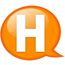 Speech balloon orange h icon