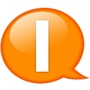 Speech balloon orange i icon