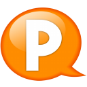 speech balloon orange p icon