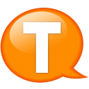 speech balloon orange t icon
