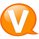 speech balloon orange v icon