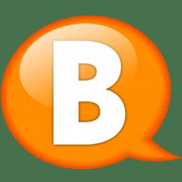 speech balloon orange b icon
