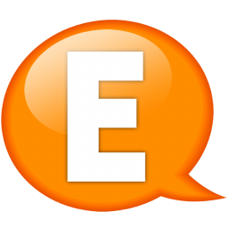 Speech balloon orange e icon