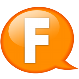 speech balloon orange f icon