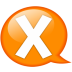 Speech-balloon-orange-x icon