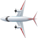 Airplane-Top-Red icon