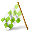 Map-Marker-Chequered-Flag-Left-Chartreuse icon