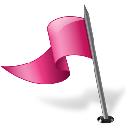 Map Marker Flag 3 Left Pink icon