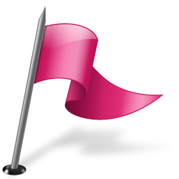 Map Marker Flag 3 Right Pink icon