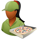 Occupations Pizza Deliveryman Female Dark icon