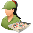 Occupations Pizza Deliveryman Female Light icon