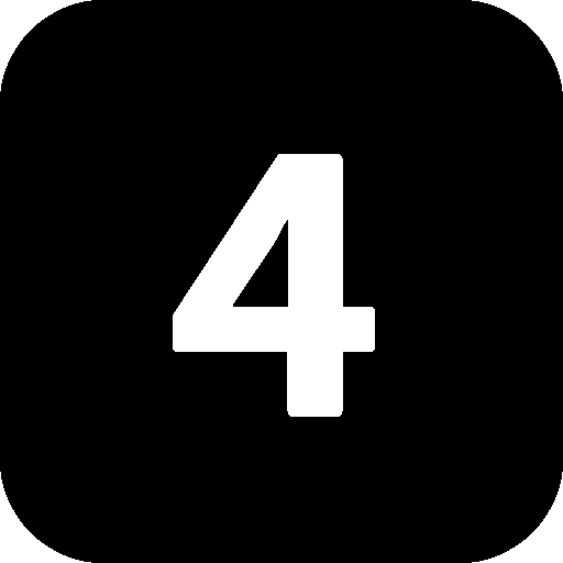 Numbers 4 Black icon
