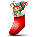 socks with christmas things inside icon