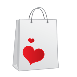 shopping bag heart icon