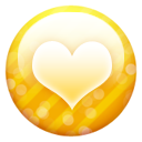 Gold button heart icon