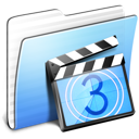 Aqua Stripped Folder Movies icon