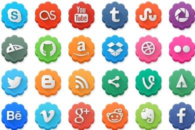Modern Social Media Flowers Icons