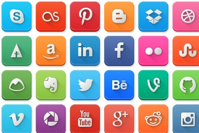 Modern Social Media Rounded Icons