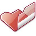 Folder red open icon