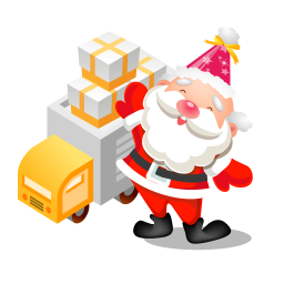 santa gifts truck icon