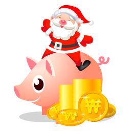 Santa piggy bank icon