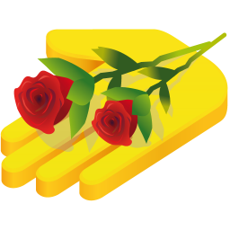 Hand rose icon