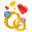 Ring hearts icon